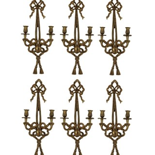 A SET OF SIX FRENCH GILT WOOD WALL SCONCES