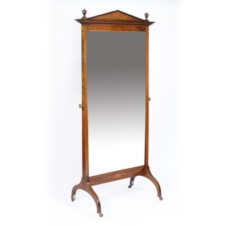Antique Edwardian Mahogany & Marquetry Inlaid Cheval Mirror c.1900