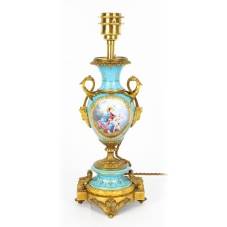 Antique Bleu Celeste Sevres Porcelain Ormolu Table Lamp c.1870