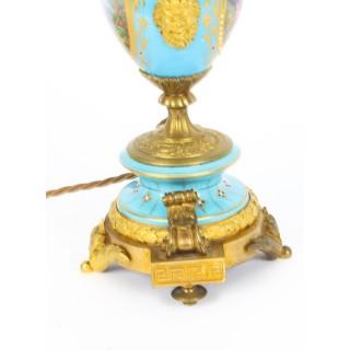 Antique Bleu Celeste Sevres Porcelain Ormolu Table Lamp c.1870