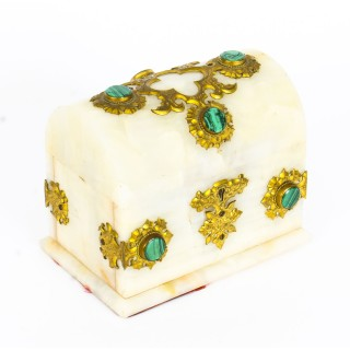 Antique French Agate Malachite and Ormolu Casket 19th Century