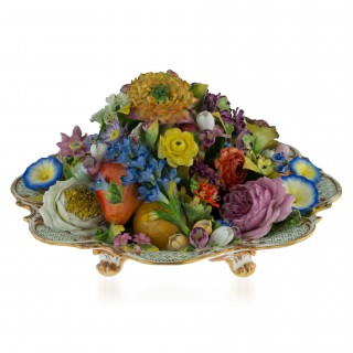 A Minton trompe l'oeil dish of fruits and flowers