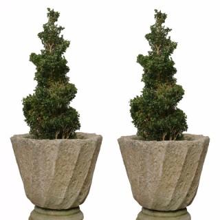 Pair Of Stone Garden Urns / Planters