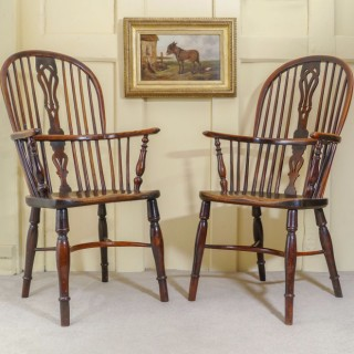 A Fine Pair of Early 19th Century Yew Wood Windsor Armchairs