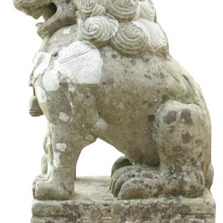 Pair Of Stone Chinese Guardian Foo / Fu Dogs