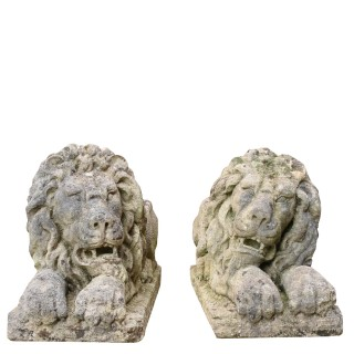A Pair Of Neoclassical Style Carved Limestone Lions