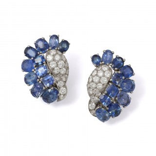 René Sim Lacaze (1901–2000) Diamond and sapphire earrings.