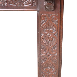 Antique Jacobean Style Carved Oak Fire Surround