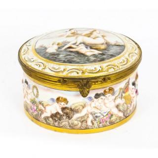 Antique Italian Capodimonte Porcelain Table Casket 19th C
