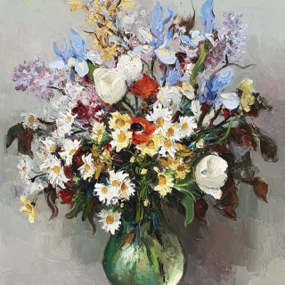 Marcel Dyf Still Life of Flowers in a Glass Vase.