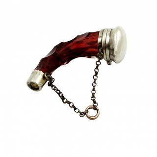 Antique Silver & Glass Horn Shape Perfume / Scent Bottle c1880