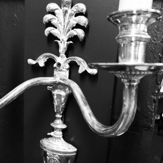 A SET OF SIX EDWARDIAN SILVER PLATED WALL SCONCES