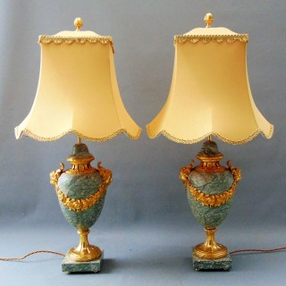 A fine Pair of  Marble Table Lamps