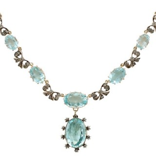 15.54ct Aquamarine and 0.69ct Diamond, 10ct Yellow Gold Necklace - Antique Victorian