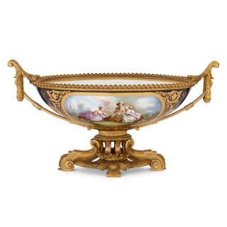 Antique Sèvres style porcelain and gilt bronze centrepiece