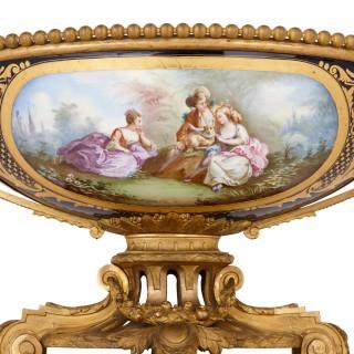 Antique Sèvres style porcelain and gilt bronze centrepiece