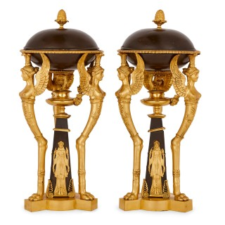 Antique Empire style gilt and patinated bronze vases