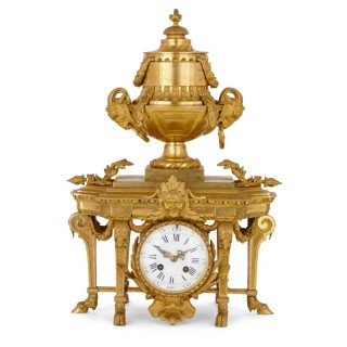Antique Neoclassical style gilt bronze mantel clock