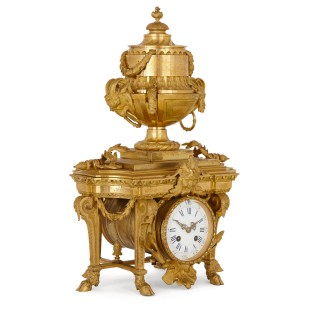 Antique Neoclassical style gilt bronze mantel clock