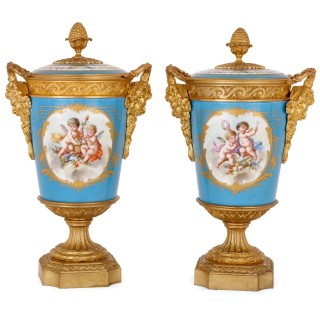 Pair of French gilt bronze mounted Sèvres style porcelain vases