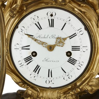 Louis XV style gilt and patinated bronze mantel clock by Balthazar