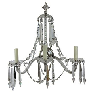 A SET OF FOUR LARGE ENGLISH CUT GLASS WALL LIGHTS