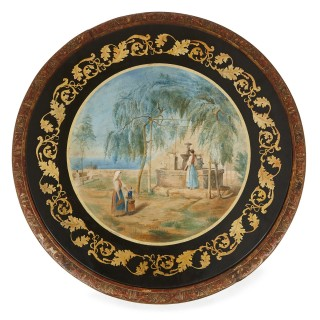 Antique giltwood and scagliola circular table, after Della Valle brothers