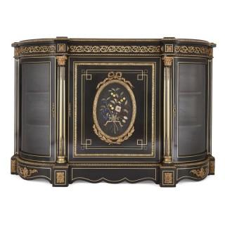 Antique ebonised wood, gilt bronze and hardstone cabinet