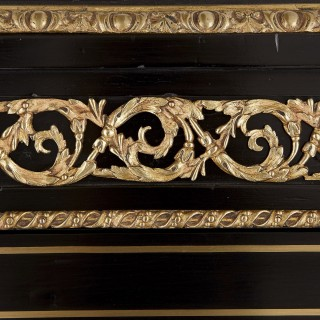 Antique ebonised wood, gilt bronze and hardstone cabinet