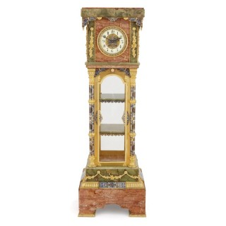 Antique onyx, marble, gilt bronze and cloisonné enamel longcase clock