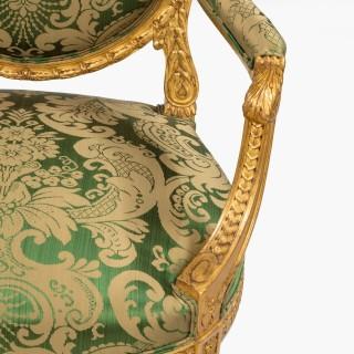 A Good Pair of Fauteuils en Cabrioletin the Louis XVI Manner