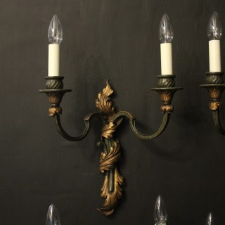 French Set Of 4 Toleware Twin Arm Wall Lights