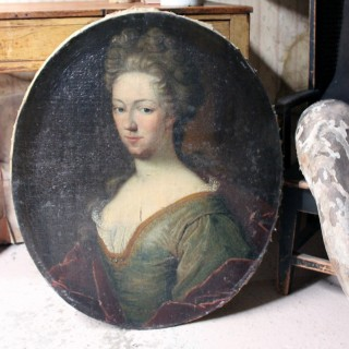 An Early 18thC English School Oval Oil on Canvas Portrait of a Lady c.1730-40