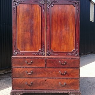 George III Period Mahogany Antique Linen Press