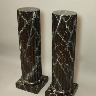 Pair of 20th Century Italian Painted Black Faux Marble Columns or Pedestals