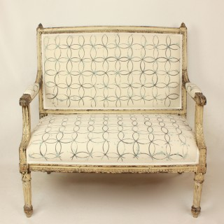 Louis XVI Painted Settee Upholstered with Hand-Painted Fabric