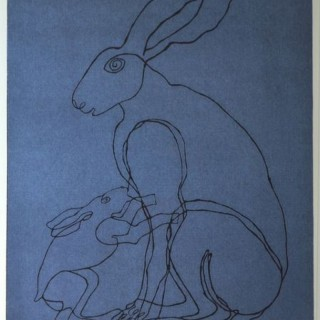 Sophie Ryder - Lady Hare & Child - linocut