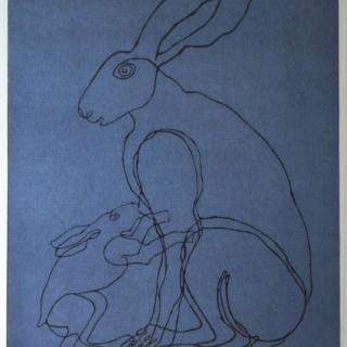 Sophie Ryder - Lady Hare & Child - linocut