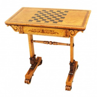 Regency Birds Eye Maple Wood Games Table