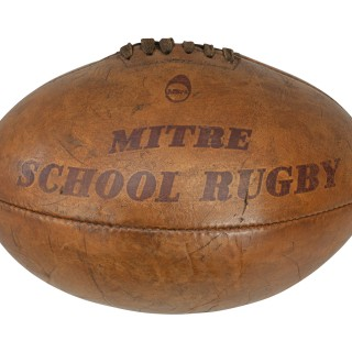 Original Leather Mitre Rugby Ball, No 5, Four Panel.