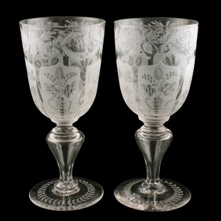 Pair of William IV Etched Marriage Goblets