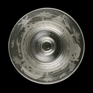 Large Bucket Bowl Engraved Glass Rummer