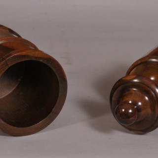Antique Treen 19th Century Yew Wood Tobacco Jar and Plunger