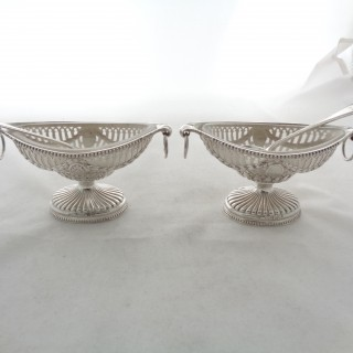 Quality pair Victorian silver salts London 1865 John Figg