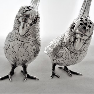 Super pair cast Victorian silver cockatoo peppers London 1882 Thomas Johnson