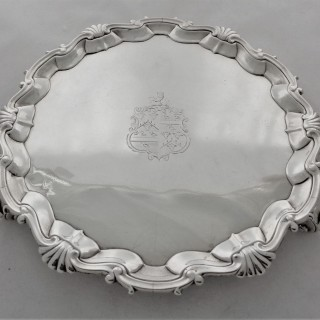 Quality armorial George II silver salver London 1750 Henry Brind