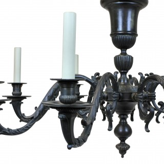 A LARGE BRONZE 17TH CENTURY STYLE CHANDELIER