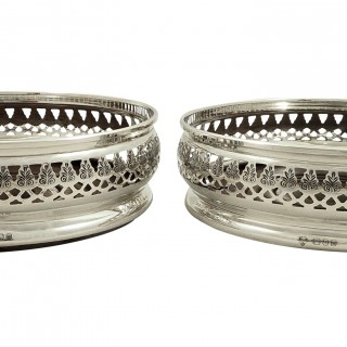 Pair of Vintage Sterling Silver Wine / Champagne Coasters 1967