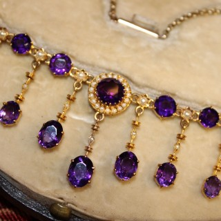 High Carat Yellow Gold Amethyst & Seed Pearl Necklace, circa 1905