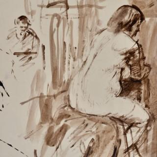 John Sergeant - The Life Class - watercolour wash